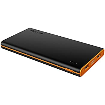 EasyAcc 10000mAh Power Bank Portable Charger for iPhone Samsung HTC Smartphones Tablets - Black and Orange