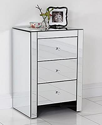 Contemporary 3 Drawer Mirrored Bedside Table / Lamp Table - Mirrored Bedroom Furniture