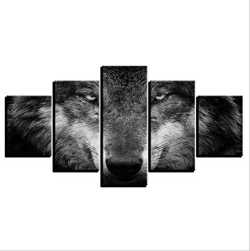 Leinwand Gemälde 5 Stück, Wandkunst Bilder Tiere Wolf Black and White Home Decor