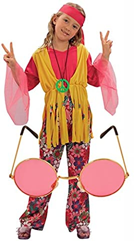Girl Costume Hippie - Girls 60s 70s Hippy Fancy Dress Costume