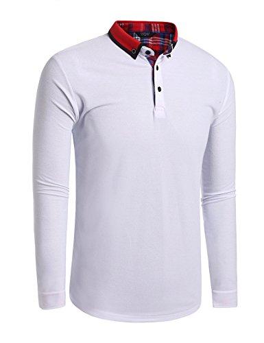 Burlady Herren Poloshirt Langarm Kentkragen Kariert Einfarbig Freizeit Party Polohemd für Männer Weiß