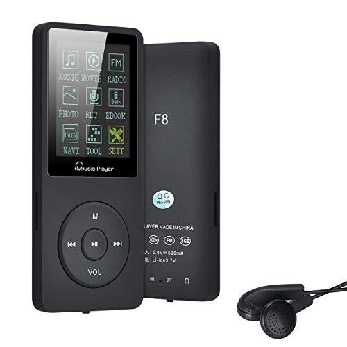 Lychee 8GB MP3 Player 70 Stunden Wiedergabe,unterstützt Micro SD-Karte,bis 64GB und es kann 1500 Songs Aufnehmen Musik Player,Schwarz
