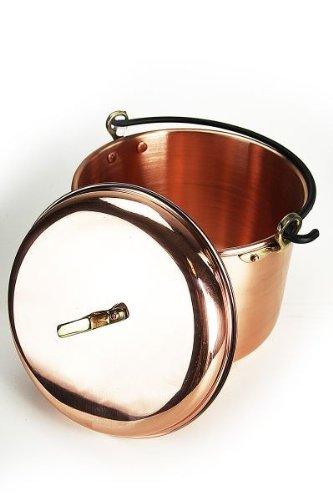 'CopperGarden' Kupfertopf mit Deckel - 8 Liter - 24 cm Durchmesser - glatte Ausführung mit Henkel
