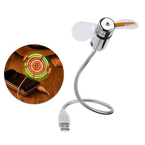 LEDMOMO Flexibler USB-Ventilator Portable Mini-USB-Schreibtisch-Fan mit Mehrfarben-LED-Licht Rundschreiben-Anzeige 2 PCS