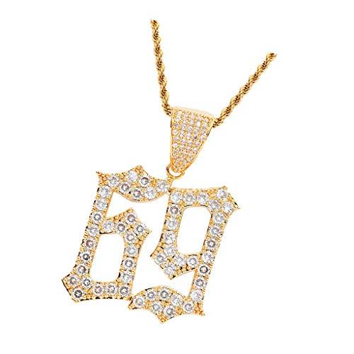 IPOTCH Collar Colgante Número 69 Cadena Accesorios Unisex Hip Hop Rapero - Oro