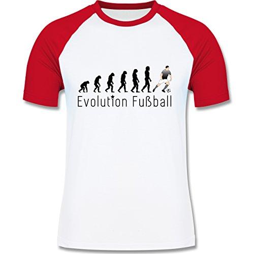 Evolution - Fußball Evolution - zweifarbiges Baseballshirt für Männer Weiß/Rot