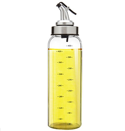 Fyuan 1pcs Dispensador de aceite de oliva y vinagre - 17 oz Botellas de cristal transparente para cocinar sin tapones de goteo - Cocina Dispensing Cruets-Oil Pourer Dispensing Bottle