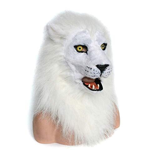 LZY Masken White Lion Mask, gruselige Löwenkopf, pelziges Haar, Neuheit lustige Halloween Kostüm Ritter Maske Cosplay,Weiß (Gruselig Pferd Maske Kostüm)