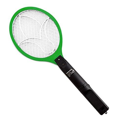 kwmobile Matamoscas eléctrico - Raqueta eléctrica Mata Mosquitos - Raqueta pequeña Verde - Exterminadora de Insectos con Mango