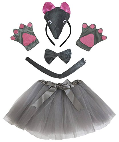 Petitebelle 3D Mouse Headband Bowtie Tail Gloves Grey Tutu 5pc Party Costume