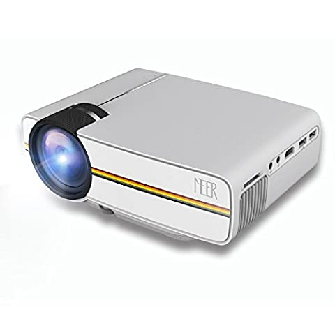 Meer Portabler LED Heimkino Beamer Projektor, 1200 Lumen, HD, 1080P, mit integrierten Lautsprecher,SD-Slot, VGA,HDMI,USB,AV, Unterstützt IPhone und Android, weiß, lange Lebensdauer