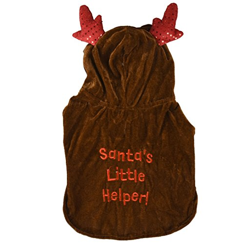 Pet Hund Rentier Kapuzen Cape Pailletten Geweih Santa 's Little Helper Christmas Xmas Hoodie Fancy Kleid Festive