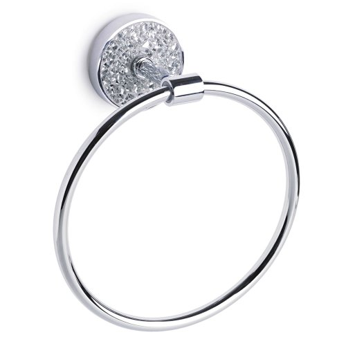 Home Treats Bathroom Towel Ring Silver Mosaic
