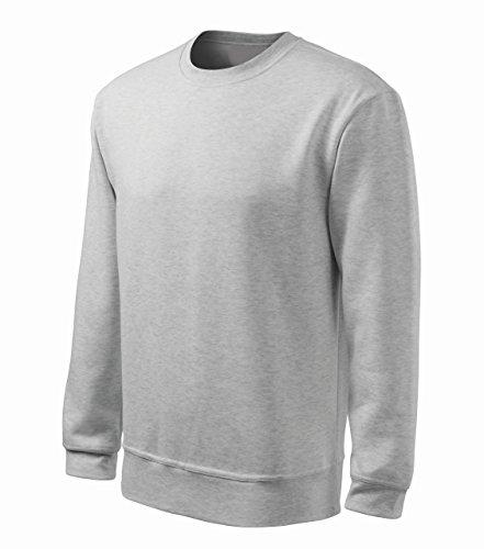 Sweatshirt mit Rundhalsausschnitt Herren oder Boyfriend Look Damen 65% Baumwolle Rundhals langarm Stretch m. 5% Elasthan - Doppelnaht grey-heather