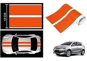 Speedwav Car Racing Stripe Graphic Sticker-Orange-Toyota Etios Liva