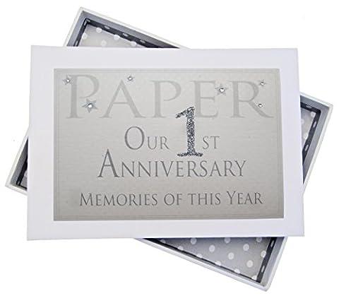 White Cotton Cards AW1T Album photo avec inscription