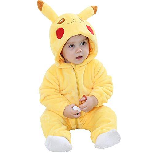 Unisex Baby Strampler Flanell Pyjama Tier-Kapuze Reißverschluss Jumpsuit Neugeborene Outwear Gr. 73 cm, Pikachu (Er Mann Kostüm Für Kleinkind)
