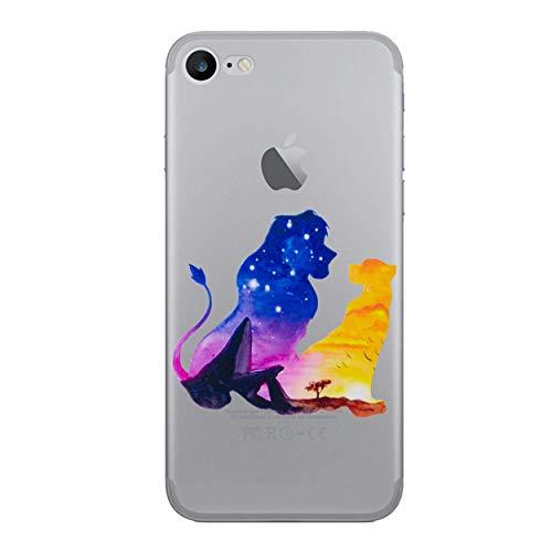 """I-CHOOSE LIMITED Disney Aquarelle Coque Étui pour Téléphone pour Apple iPhone 6S Plus 6 Plus (5.5"""") avec Protecteur D'écran/Gel/TPU/Le Roi Lion - Simba & Nala"""
