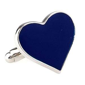 Blue Lovers Heart Cufflinks Cuff Links