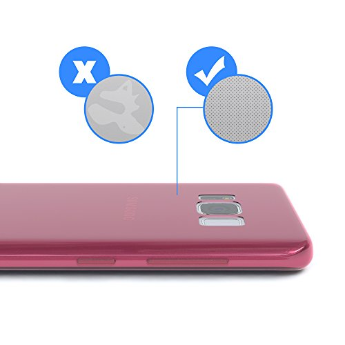 "EAZY CASE Handyhülle für Samsung Galaxy S8 Hülle - Premium Handy Schutzhülle Slimcover ""Brushed"" Aluminium Design - TPU Silikon Backcover in brushed Rot Hot Pink - Clear"