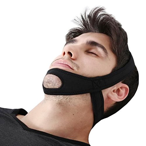 Stop Schnarchen Kinnriemen, Anti-Schnarchen Jaw Strap - Effektive Stop Schnarchen, eine Natur schlafen. Justierbarer Kinnhalter für Männer und Frauen (Schwarz)