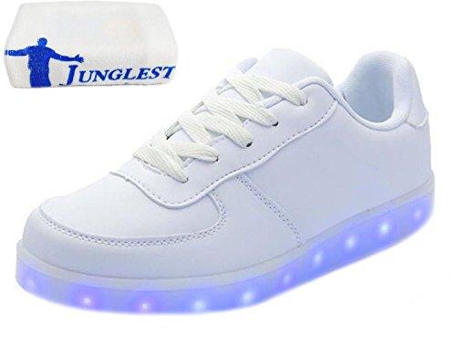[presente: Toalha Pequena] Junglest 7 Cores Sneaker Usb De Carregamento Led Brilhante Sneakers Carnaval Sapatos Sapatos De Festa Do Esporte Tênis Para Unise Branco
