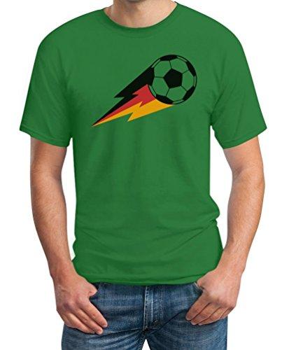 Deutschland Shirt Fussball Fanshirt Feuer Ball EM T-Shirt Grün
