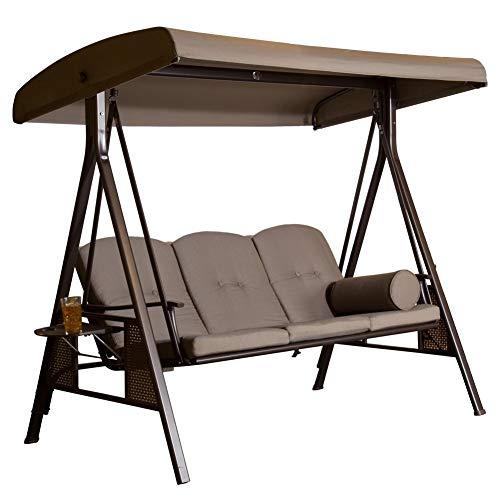 SORARA Hollywoodschaukel 3-sitzer | Braun/Grau | extra stabile Ausführung | Gartenschaukel Gartenliege Schaukelbank Gartenmöbel