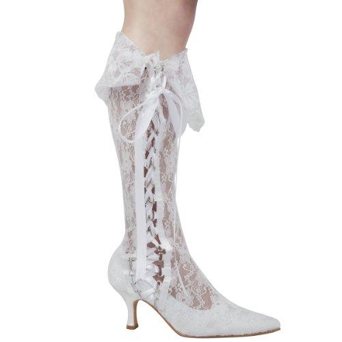 ElegantPark MB-081 Femmes FermšŠ Toe Med Talons aiguilles Prom Bottes Lace Ruban bottines Chaussures de mariee Blanc