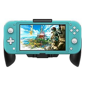 Fyoung Schutzhülle Grip für Nintendo Switch Lite 2019 Konsole mit Ständer, Stoßdämpfung, für Switch Lite, Schwarz