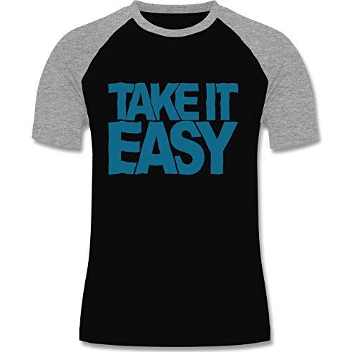 Statement Shirts - Take it easy - zweifarbiges Baseballshirt für Männer Schwarz/Grau Meliert