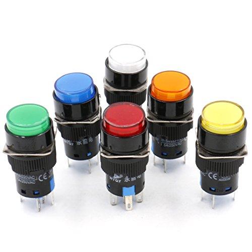 heschen 16mm rund Momentary Push Button Switch 1NO 1NC rot blau gelb weiß grün orange 12V LED Lampe -