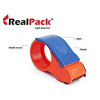 Realpack 1 x dispensador de cinta de uso ligero – fácil de usar plástico Cortador de cinta de embalaje dispensador de rollo gratis rápido envío * Servicio de entrega al día siguiente del Reino Unido *