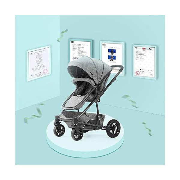 Baby Stroller, High Landscape Baby Doll Stroller, Car Seat Baby Trend Jogging Stroller for Baby Infant Newborn Baby (Color : Gray) AEQ ●SEAT BACK SUPPORT: baby alive stroller seat board, anti-seat surface subsided back board, effectively prevent hunchback, baby stroller fan gives the baby a safe and comfortable seat sleeping basket. ●5+1 SECURITY PROTECTION: for baby stroller five-point seat belt + armrest hatch protection, all-round coverage to protect the baby's key parts, baby pram stroller strictly slip away. ●SUNSCREEN INSULATION LAYER: baby stroller toy through the barrier and reflection dual means, baby strollers to resist UV to reduce the heat. 5