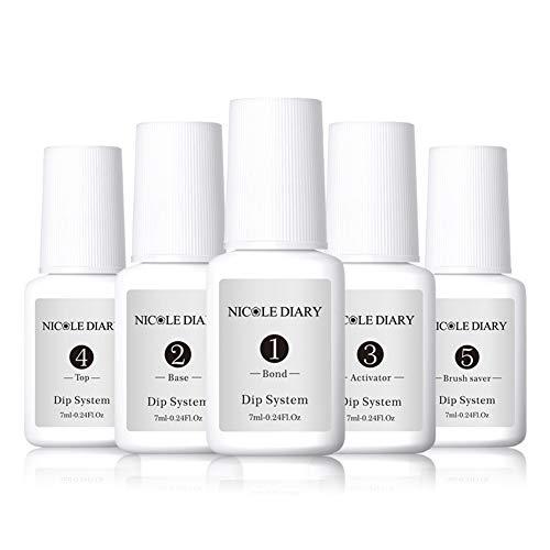 Acryl Nail Art (NICOLE DIARY Tauchpulversystem Flüssigkeit klares Acryl-Tauchsystem Nail Art Maniküre Aktivator-Top und Pinselschoner Gelpoliermittel Keine UV-Lampe für französischen Nagel-Starter)