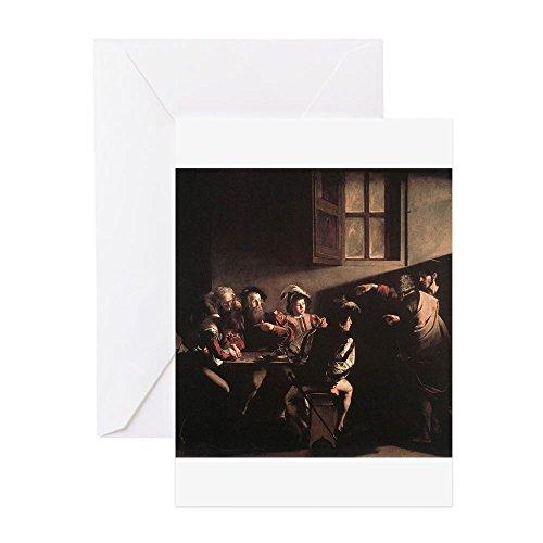 CafePress - The Calling Of Saint Matthew - Grußkarte, Notizkarte, Geburtstagskarte, blanko Innenseite matt Italienischen Barock-kunst