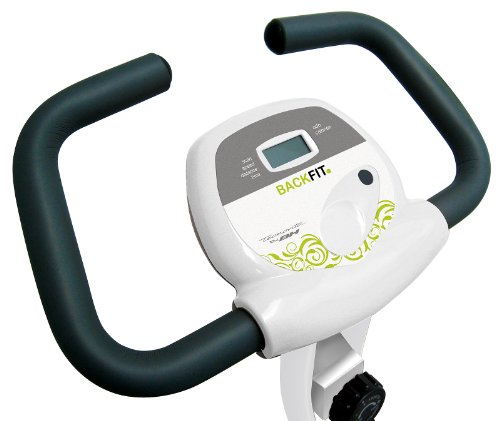 Tecnovita by BH BACK FIT YF91. Flywheel equivalent to 18 lbs. Get in shape in the comfort of your own home! Foldable fitness bicycle. Backrest and easy access. LCD Monitor. Folds easily. White