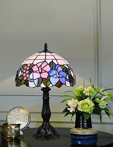 Auf Einem Floral Tisch Lampe (12-Zoll-europäischen einfachen Stil Glasmalerei Floral Tischlampe Schreibtischlampe Nachttischlampe)