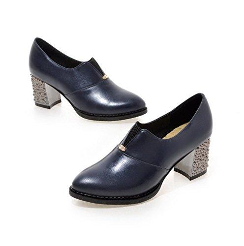 AllhqFashion Femme Pointu à Talon Correct Matière Souple Couleur Unie Tire Chaussures Légeres Bleu