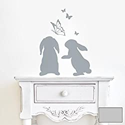 Wall Tattoo, Motif: Hares / Rabbits with Butterflies, M1861, Mid-Grey, L - 31cm breit x 40cm hoch