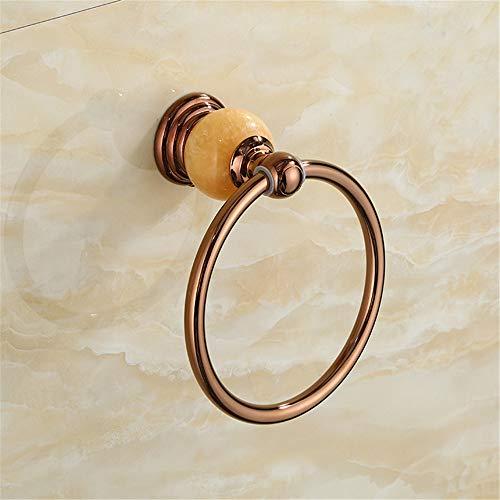 VHVCX Tovagliolo di rame anello di giada oro rosa anello di tovagliolo anello di tovagliolo WC Ring Hotel Towel Rack asciugamano appeso Jade Hardware Hanging Bagno Rack