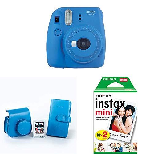 Fujifilm Instax Mini 9 - Cámara instantánea, Azul Marino + Kit de Accesorios (Funda Desmontable, Álbum 108 Fotos, Marco de metacrilato) Azul + Pack de 20 películas fotográficas instantáneas, blanco