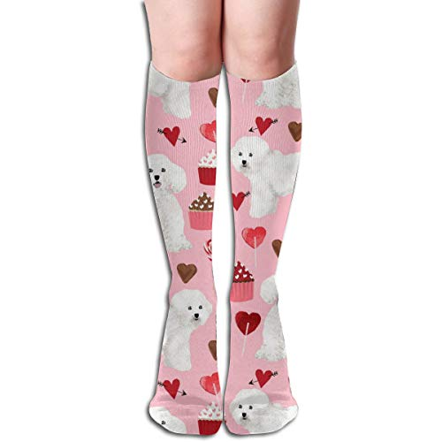 Stocking Bichon Frise Valentines Day - Love Valentines Hearts Cupcakes - Blossom Multi Colorful Patterned Knee High Socks 50cm(19.6Inchs) ()