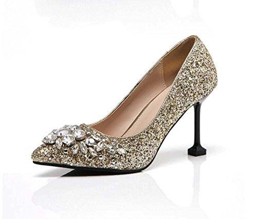 8cm Pumpe Stilett High Heels Sequins Diamant Sandalen Hochzeit Schuhe Frau Mode Spitze Gericht Schuhe Abendschuhe Hochzeit Schuhe Party Schuhe Eu Größe 35-40 golden 8.5 cm