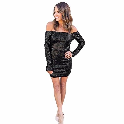 Striped Bodycon Mini (Bodycon Kleider Damen ,LMMVP Frauen Weg Vom Schulter Langes Hülsen Kleid Partei Abend Kleid (L, Black))