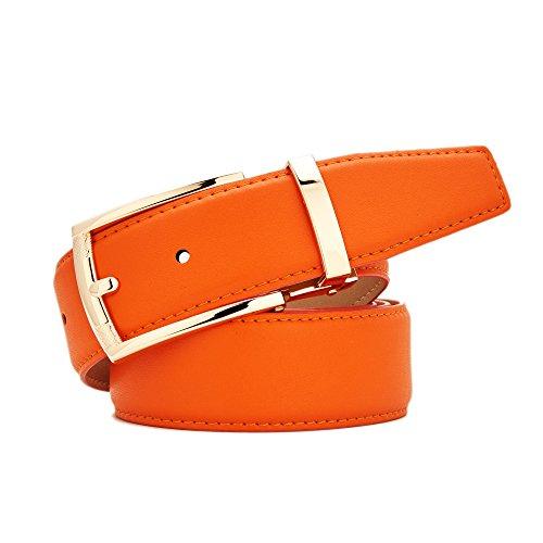 Gurscour Belts for men Leather belt Wide Orange 35mm M (35'-39 '/ 110cm)