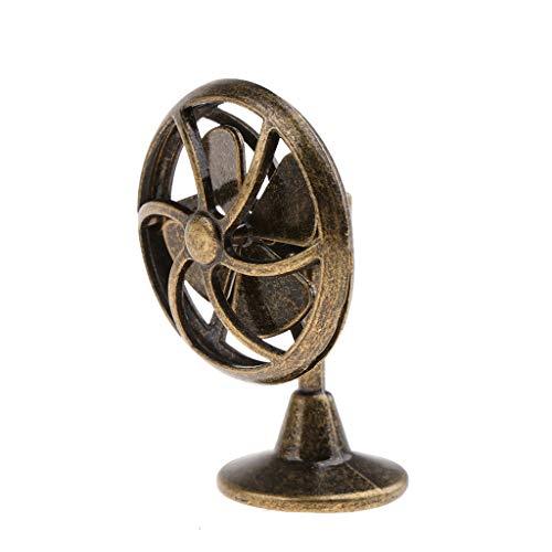 Fenteer 1/12 Puppenhauszubehör Miniatur Lüfter / Tischventilator / Ventilator Elektrogerät Modell - 1 Stück - Bronze - Bronze-lüfter