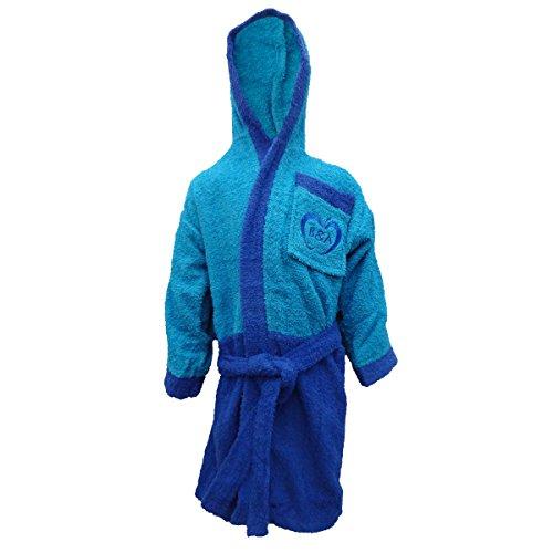 Accappatoio bambino/a in spugna con cappuccio baci e abbracci junior art. j001 (blu, 8/10 anni)