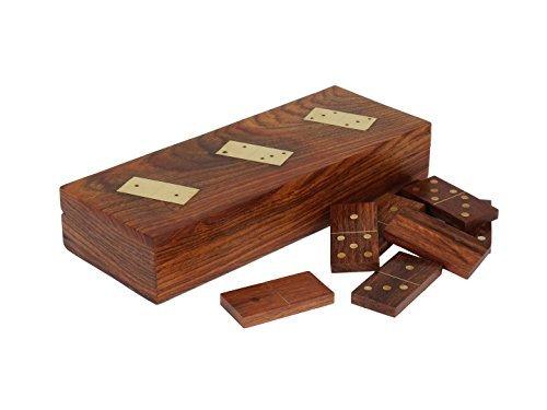 Store Indya, regali di giorno della mamma Legno 28 Tiles Dominoes gioco scatola Con mano Intarsi in Ottone