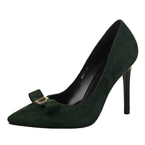 HooH Femmes Métal D Pointu Bowknot Stiletto Escarpins Deep green